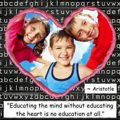 """Aristotle:  """"Educating the mind without educating the heart is no education at all."""" Download a FREE one page poster for this quote (and many more FREE posters of famous quotes) on this page of Unique Teaching Resources."""