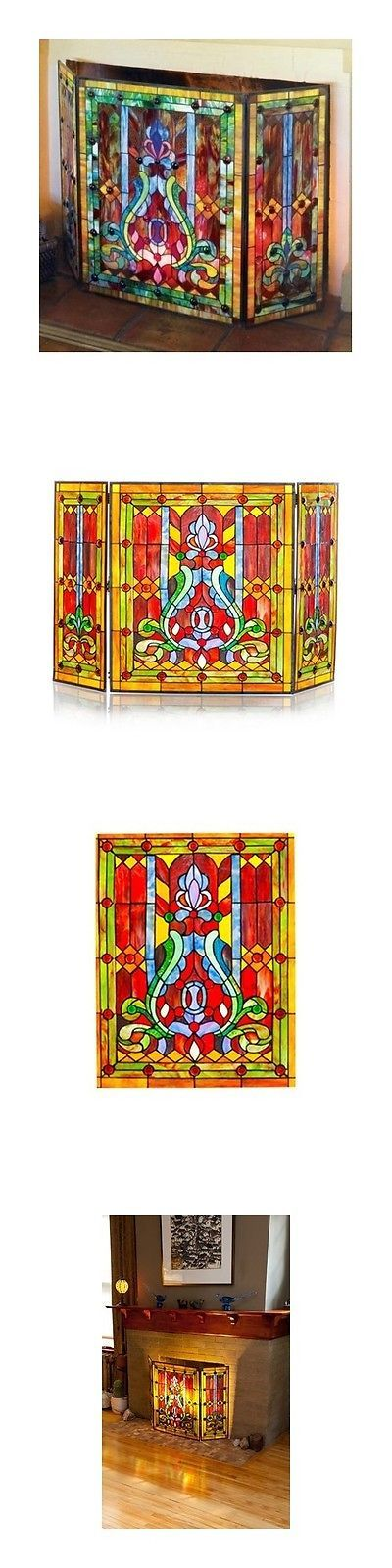Fireplace Screens and Doors 38221: Fireplace Screen Stained Glass Folding 3-Panel Door Tools Victorian Style Decor -> BUY IT NOW ONLY: $192.04 on eBay!