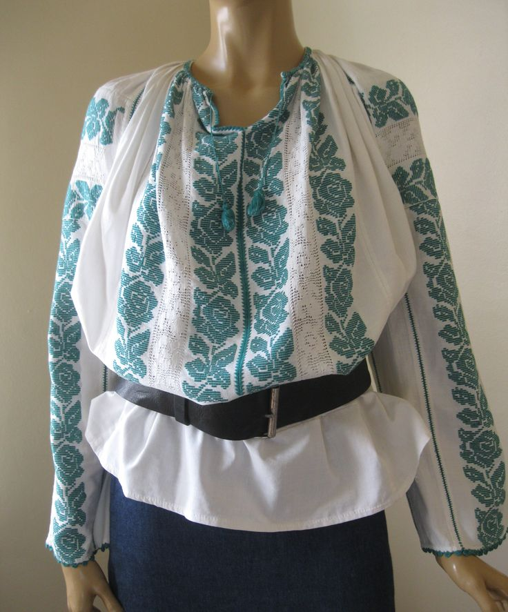 Antique Romanian blouse, hand woven with green cotton size M/L  at www.greatblouses.com