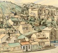 Rita Angus, Houses, Wellington, 1964, builder's pencil with watercolour on paper
