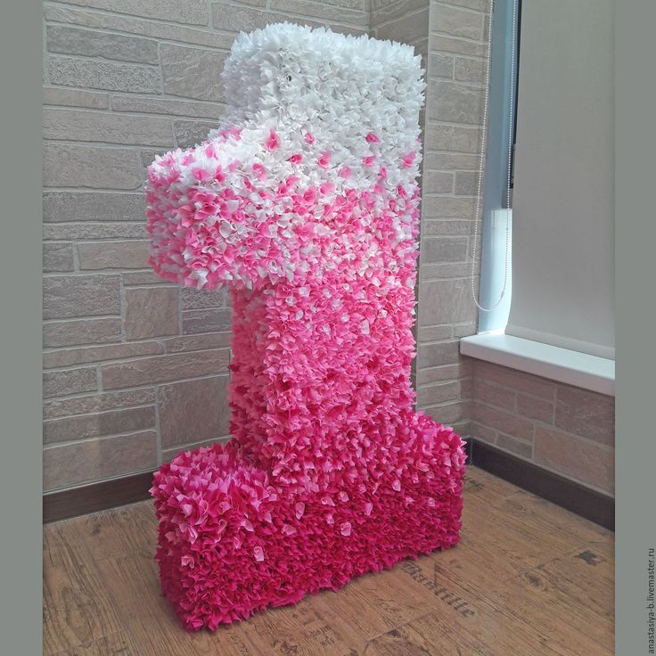 """Купить Цифра """"1"""" (90 см)  в технике """"Торцевание"""" - большая цифра, цифры, розовый, розовая"""
