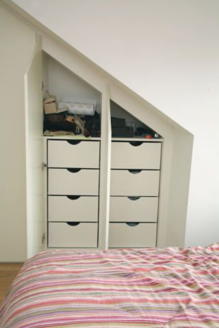 Loft Storage - like these drawers behind doors to keep it neat!