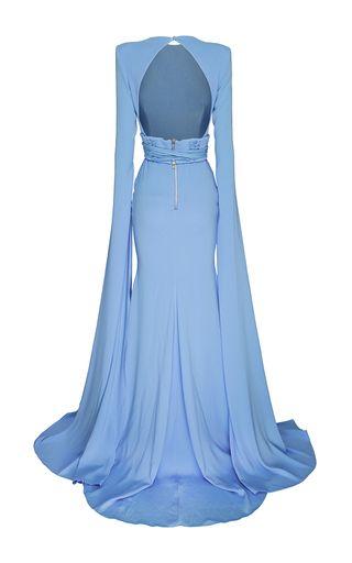 The Courtney Satin Crepe Long Sleeve Gown by Alex   Moda Operandi