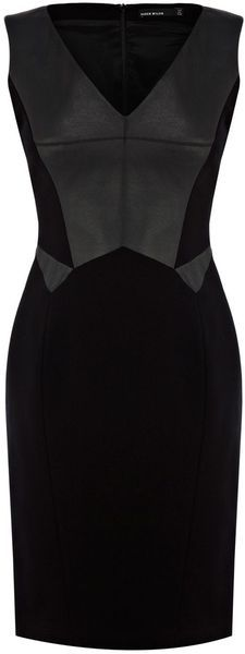 Karen Millen Faux Leather and Jersey Dress - Lyst