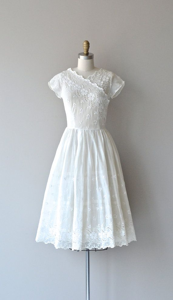 Quadrille dress vintage 1940s dress white 40s by DearGolden
