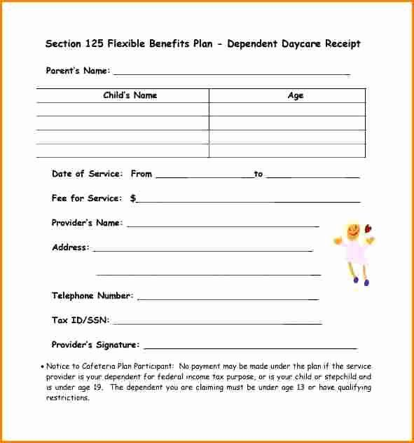 Child Care Payment Receipt Awesome 5 Dependent Care Receipt Template Job Resume Examples Childcare Online Invoicing