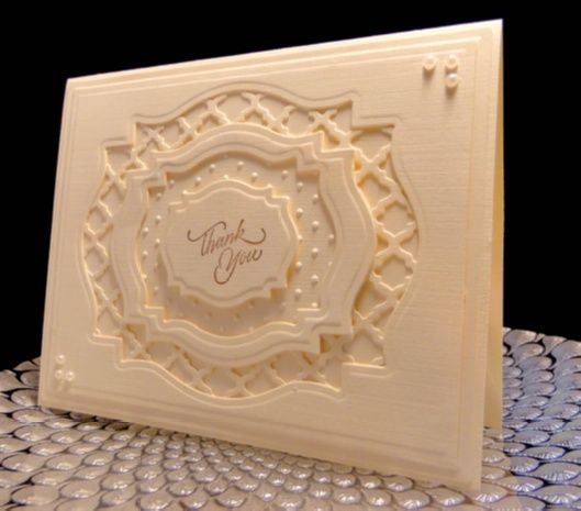 This card has 5 layers using the Spellbinder Labels 18 in several different ways. Spellbinder Fancy Lattice, Serendipty Thank you sentiment in SU Soft Suede, Swiss Dot EF, SU 1/2 pearls, Ivory linen cardstock, LOTS of SU dimentionals