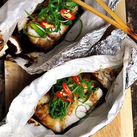 Asian style fish parcel with ginger & spring onion - under 30 minutes meal!
