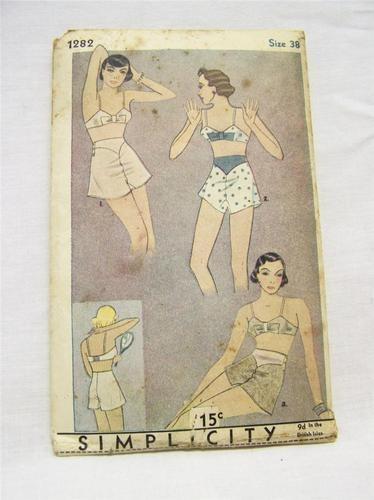 Vintage Simplicity Pattern Early 1930's Ladies Underwear Size 38 Complete | eBay