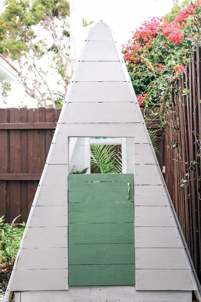 DIY A Frame Play House This outdoor playhouse is easy and cheap to