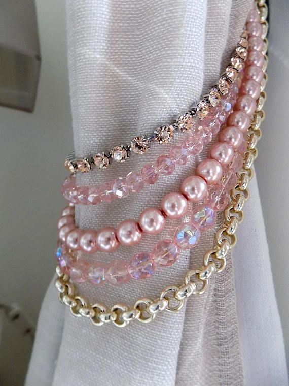 Pink and gold Bohemian crystals tieback pink faux pearls