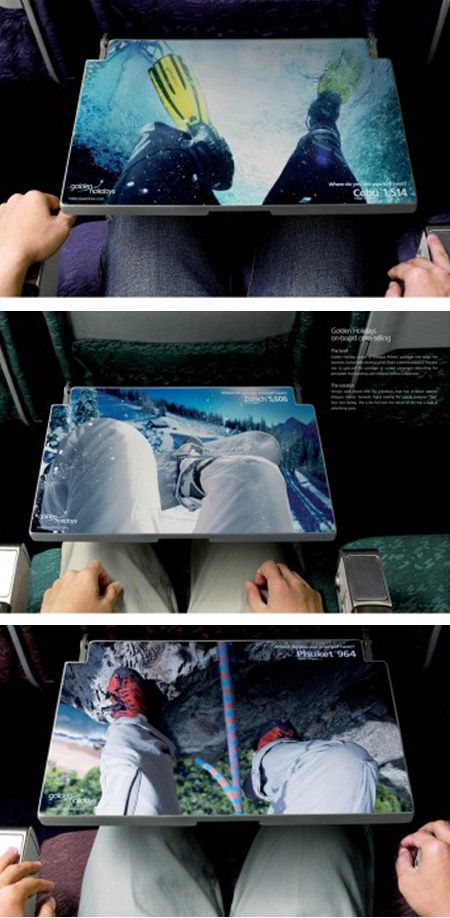 The advertising by Golden Holidays on the tray tables of Malaysia Airlines lets passengers feel their next holiday experience.