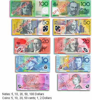Currency in Sydney, Australia..