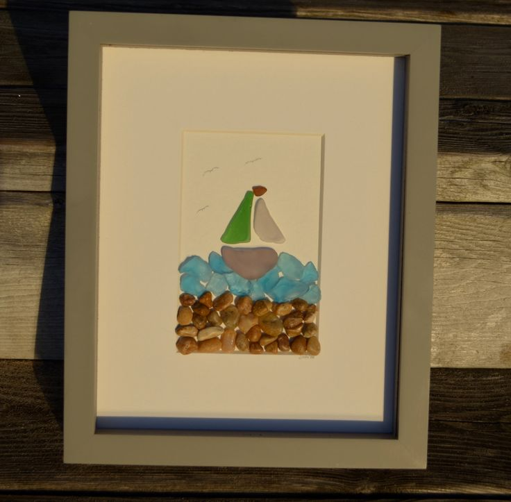 Sail Away, Sailing boat picture, sailboat art, sailor art, beach decor, beach glass art, sea glass art, sea glass boat, glass boat,beach art by BeachMemoriesByJools on Etsy https://www.etsy.com/listing/481274863/sail-away-sailing-boat-picture-sailboat