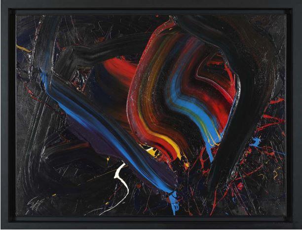 Kazuo Shiraga (1924-2008), Ungen, 1976Huile sur toile Signée en bas à gauche Contresignée, titrée et datée au dos Estimation : 500 000/700 000 € 97 x 130 cm