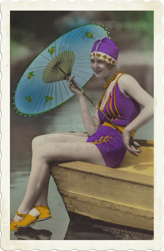 Purple Flapper Swimmer vintage photo digital download by MissKym