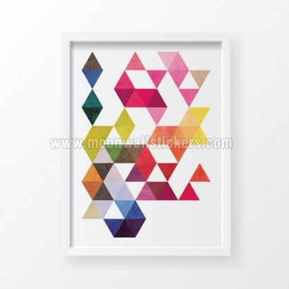 Multi Colored Triangles Mid Century Poster - Moon Wall Stickers