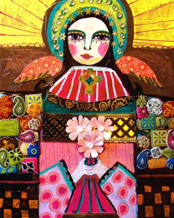 11x14 Mexican Folk Art  Virgin Of Guadalupe by HeatherGallerArt, $24.00