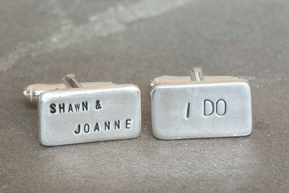 Personalized I Do and Bride and Grooms Names Wedding Cufflinks ~ Bride Gift to Groom, Wedding Jewelry for Men, Engraved Cufflinks, Custom