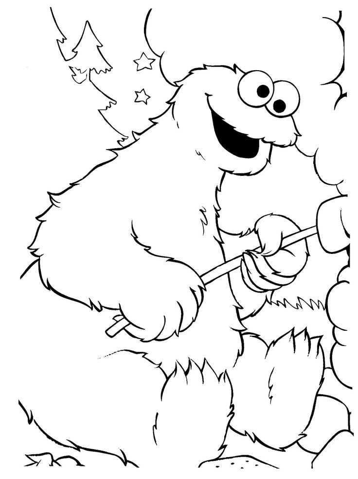 cookie monster toasting marshmallows coloring pages