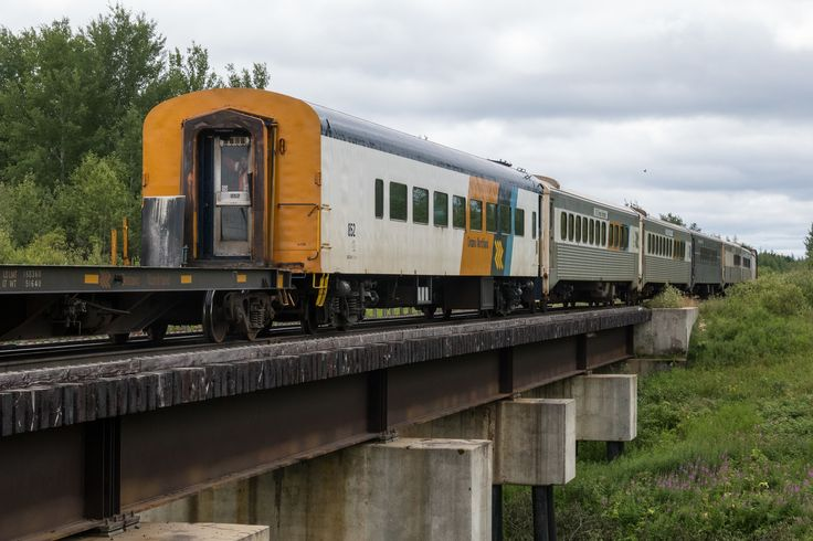 Passenger consist of the Polar Bear Express crossing Store Creek on its way into Moosonee.