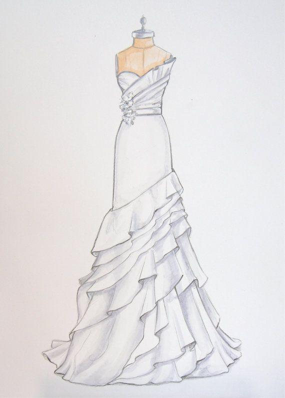 Custom Wedding Dress Illustration of Jim Hjelm dress by ForeverYourDress, $125.00, custom wedding gift www.foreveryourdress.com