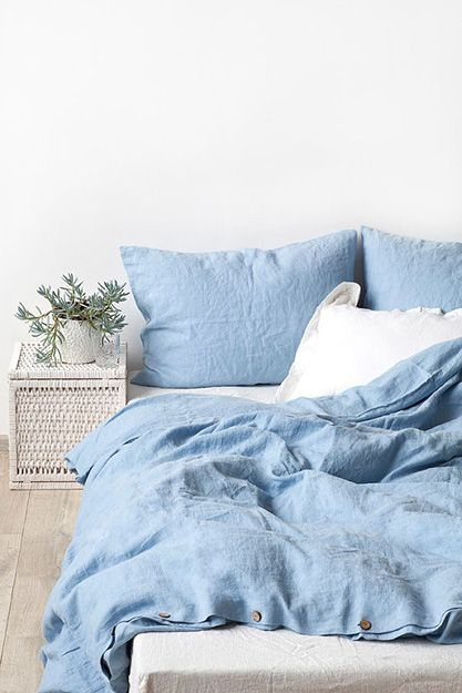 sky blue linen bed set, pantone serenity used in interior design, baby blue bedding, smoky blue, dusty blue:
