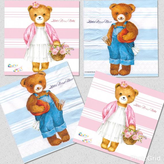 Set 4four servetten Little bear belle roze & door Dalilasdecoupage