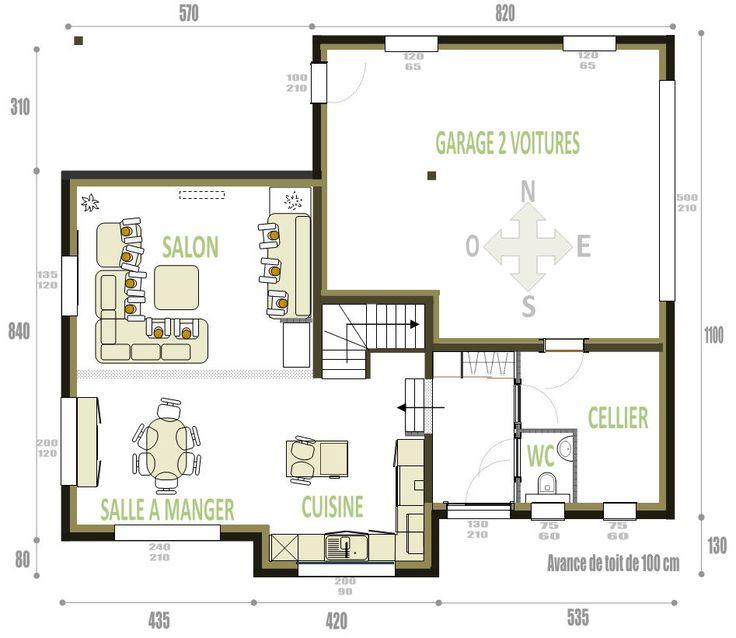 Rez-de-chauss�e 75m� habitables   garage de 48m�(pas de sous-sol) L�ger demi-niveau de 3 marches (soit entre 51 et 54 cm)entre la partie GARAGE CELLIER WC ENTREE et la partie CUISINE SALLE SAM - Maison contemporaine 68 Romagny par brunisch sur ForumConstruire.com