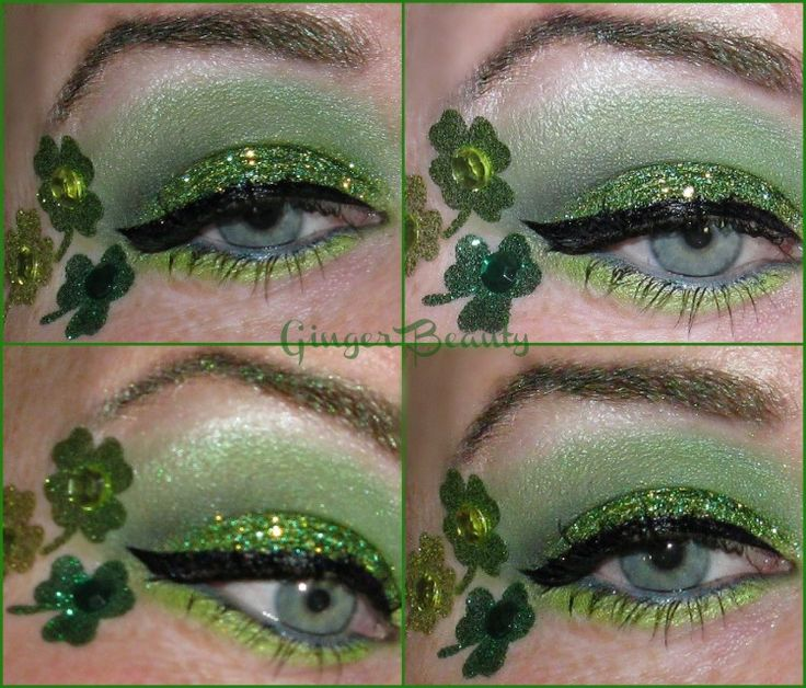 Green Glitter with Winged Liner & Shamrocks - St. Patrick's Day inspired eye look from Ginger Beauty.