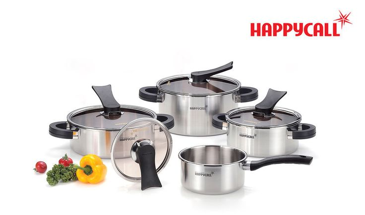Happycall 3Ply Stainless Steel Polished Kitchen Cooking Pots Cookware Set 8Piece #Happycall