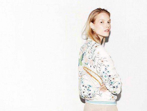 Zara model Suvi Koponen wears a floral bomber jacket