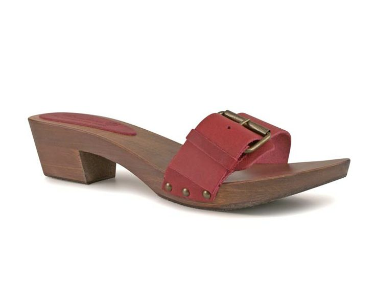 Red clogs mules for women with metal buckle