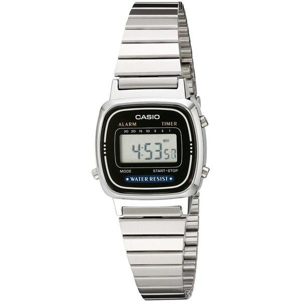 Casio Daily Alarm Digital Watch (66 RON) ❤ liked on Polyvore featuring jewelry, watches, retro digital watch, stainless steel jewellery, digital watches, dial watches and stainless steel jewelry