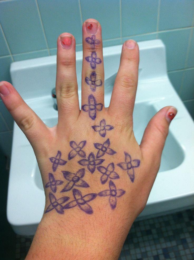 Flower pen tattoo pen tattoos pinterest for Tattoo with pen