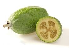 Feijoa (pineapple guava or guavasteen) - The fruit usually is eaten by cutting it in half, then scooping out the pulp with a spoon. The fruit has a juicy, sweet seed pulp and slightly gritty flesh nearer the skin.