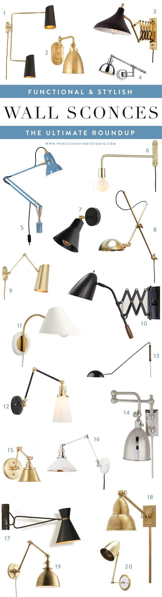 The best in articulating wall sconces, swing arm wall sconces, adjustable wall sconces and more - a roundup of all my favorite sconces in a variety of finishes including brass sconces, black sconces, industrial sconces and more. www.pencilshavingsstudio.com