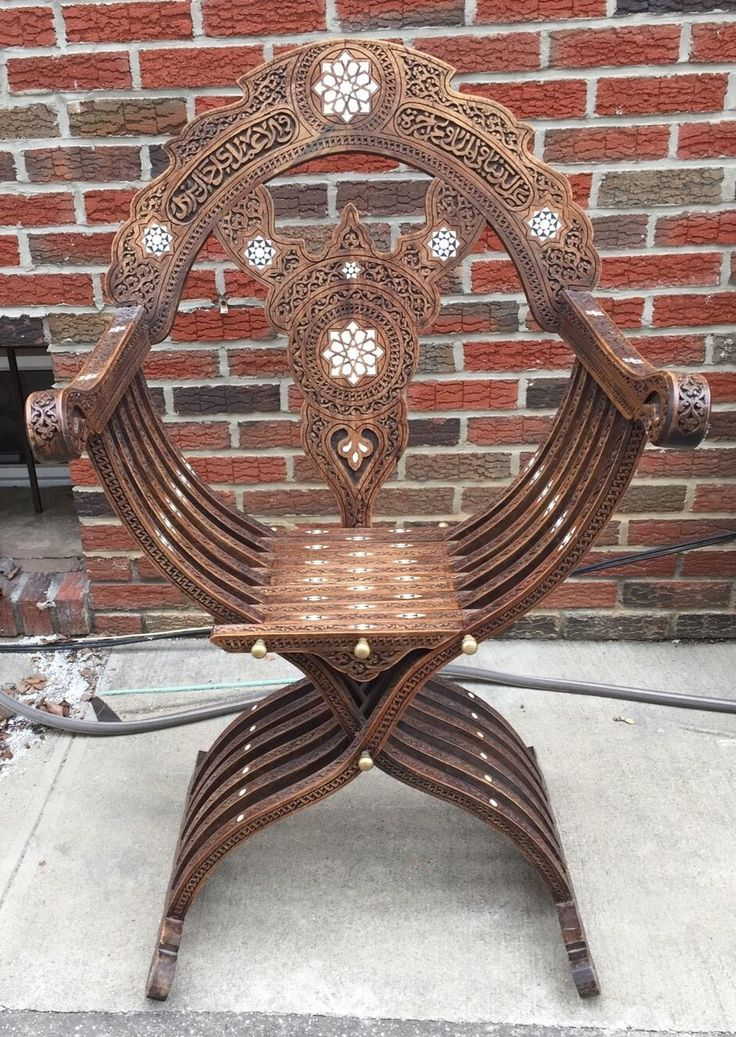 Antique 19th Century Syrian Moorish Wood Chair Inlaid With