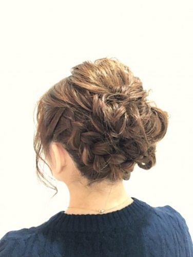 外国人風ゆるアップ×編み込みヘア