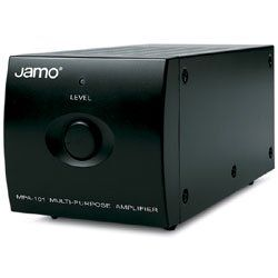 Jamo 2X50W Amplifier, Black. The MPA-101 Amplifier from Jamo is a multi-purpose amplifier that can be used to power speakers or subwoofers among other possible options. This unit offers 2 x 50 W (4) or 1 x 100 W (8) amplification. This unit is supplied with line-in/line-out ports to enable daisy chaining of multiple MPA units. The amplifier can be set to operate in full range mode (20 to 20000Hz) or set in an adjustable low-pass mode for powering passive subwoofers such as IW1060SW and…