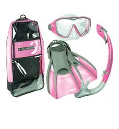 Am I a total princess for wanting this US Divers Diva Island Dry Trek Women's Snorkel Set for my trip to Hawaii because it's pink and it comes with its own matching bag?