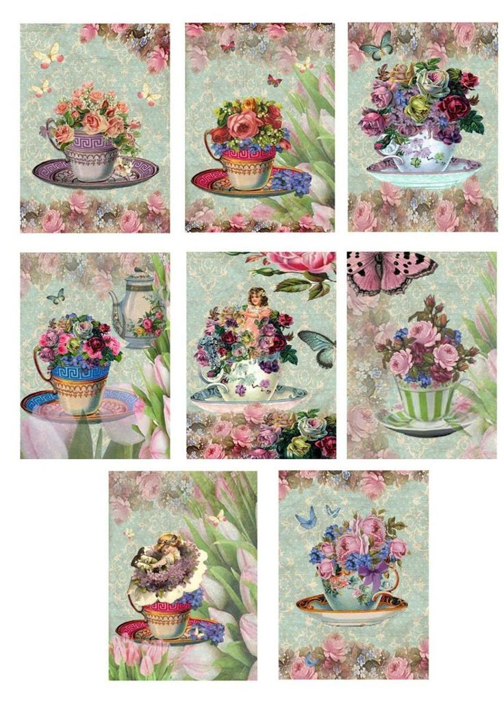 Vintage Inspired Tea Cup Small Note Cards Tags Altered Art Set of 8 Tulips | eBay