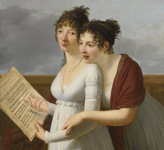 'Portrait of Two elegantly Dressed Ladies' by French painter Robert Lefevre (1755-1830). Oil on canvas, 76.8 by 83.2 cm. via wikimedia