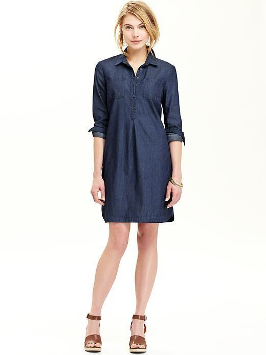 Petite chambray shirt dress — pic 4