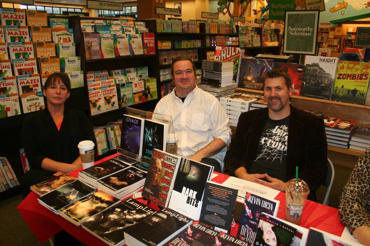 """Every year I attend a Halloween Book Signing at the Wilkes-Barre, PA Barnes and Noble. Always a nice turnout. Featured here with me is author Mary Sangiovanni and Jacob  Haddon, editor of Lamplight, who initially commissioned """"And I Watered It With Tears"""" for Lamplight Magazine."""