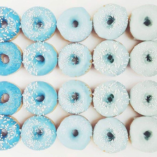 Ombre blue donut image. Such bright and funky colorful pastel food photography! Would make a nice phone background too. Save this one for later!
