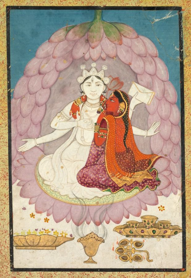 Vishnu and Lakshmi Seated on a Lotus Blossum, early 1900s- India, Pahari Hills, Kangra school, 19th century, ink and color on paper, Sheet: 13.30 x 9.00 cm (5 3/16 x 3 1/2 inches). Bequest of Mrs. A. Dean Perry 1997.118