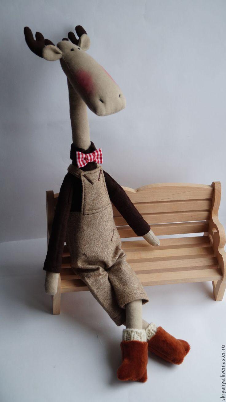 Купить Лось Игорь - коричневый, лось, лосик, лоси, лосяш, игрушка ручной работы