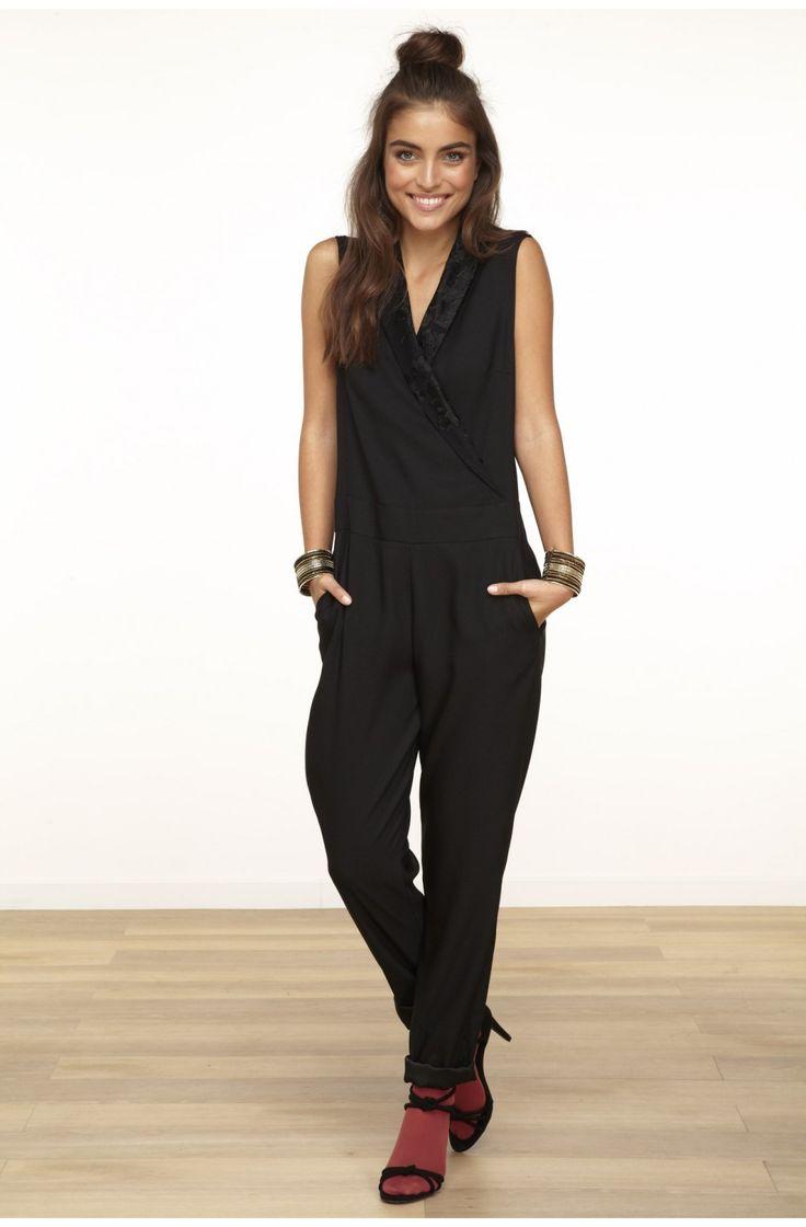 Combinaison pantalon avec dos dentelle noir - pantalons femme - naf naf 1