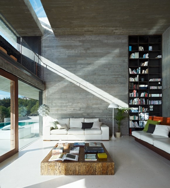 LOVE the high ceilings, glass wall, stone wall and high bookcase. perfect.
